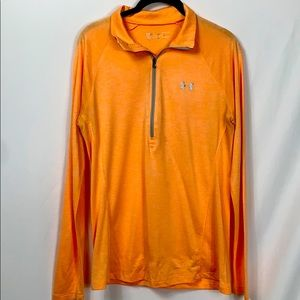 Under Armour peach colored long sleeved 1/2 zip Lg